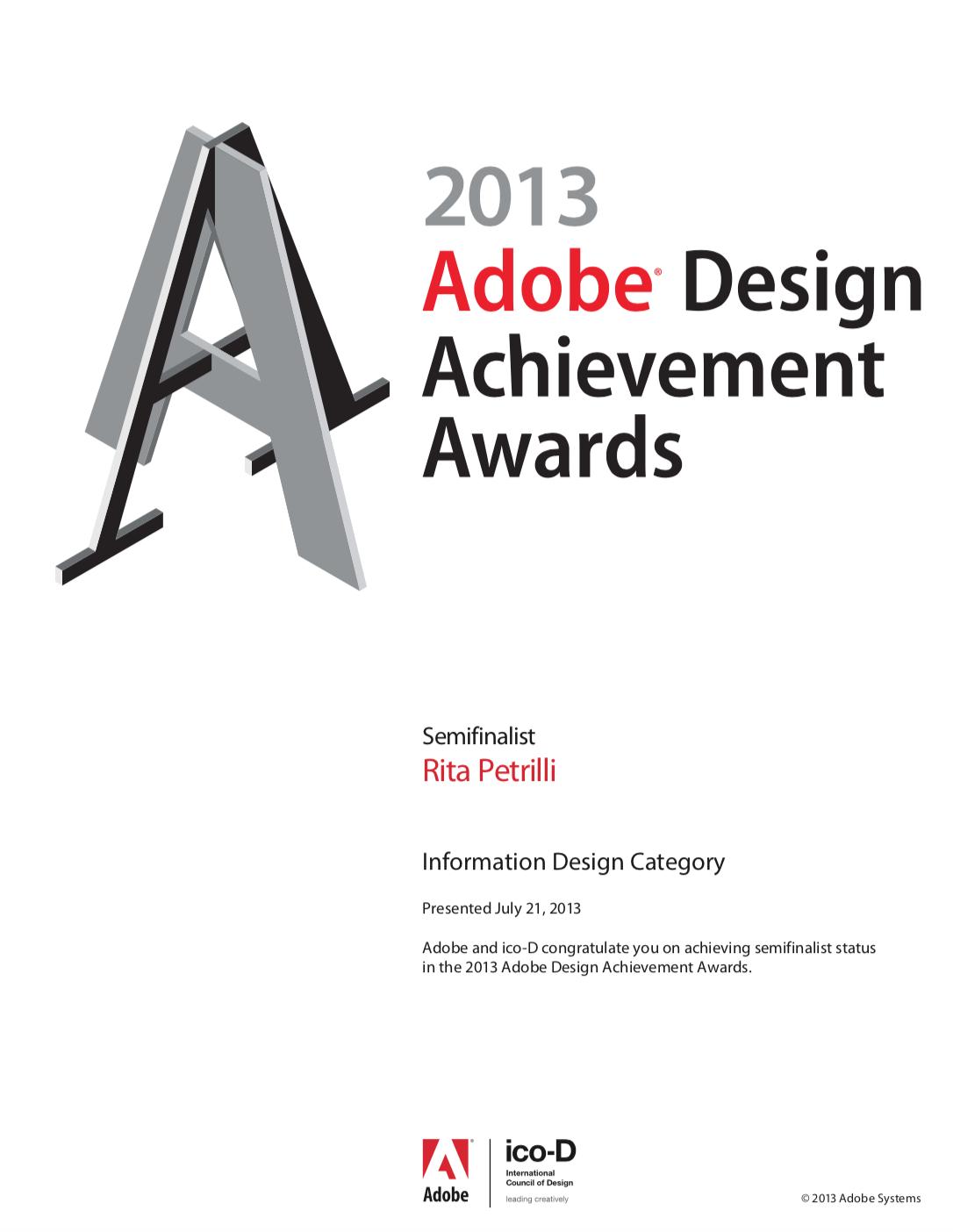 Semifinalist Adobe Design Achievement Awards 2013